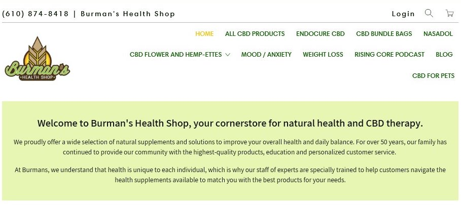 burmanshealthshop.com website screenshot